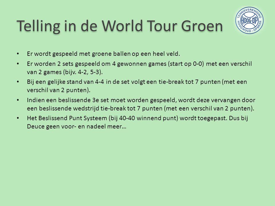 Telling in de World Tour Groen Er wordt gespeeld met groene ballen op een heel veld. Er worden 2 sets gespeeld om 4 gewonnen games (start op 0-0) met