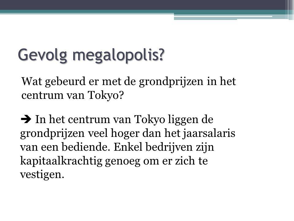 Gevolg megalopolis.Wat gebeurd er met de grondprijzen in het centrum van Tokyo.