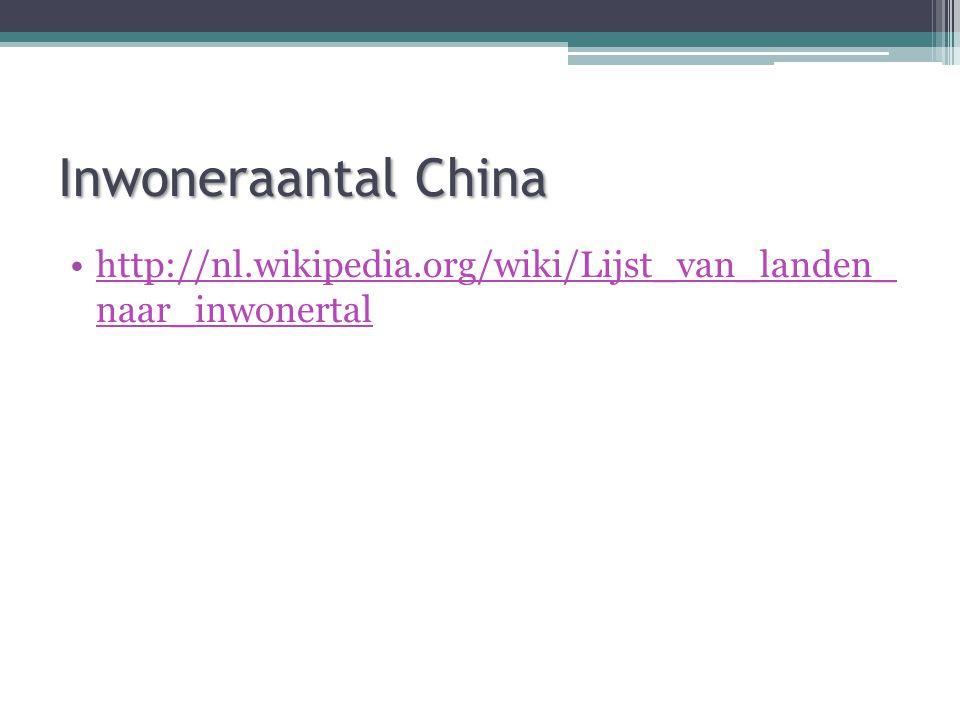 Inwoneraantal China http://nl.wikipedia.org/wiki/Lijst_van_landen_ naar_inwonertalhttp://nl.wikipedia.org/wiki/Lijst_van_landen_ naar_inwonertal