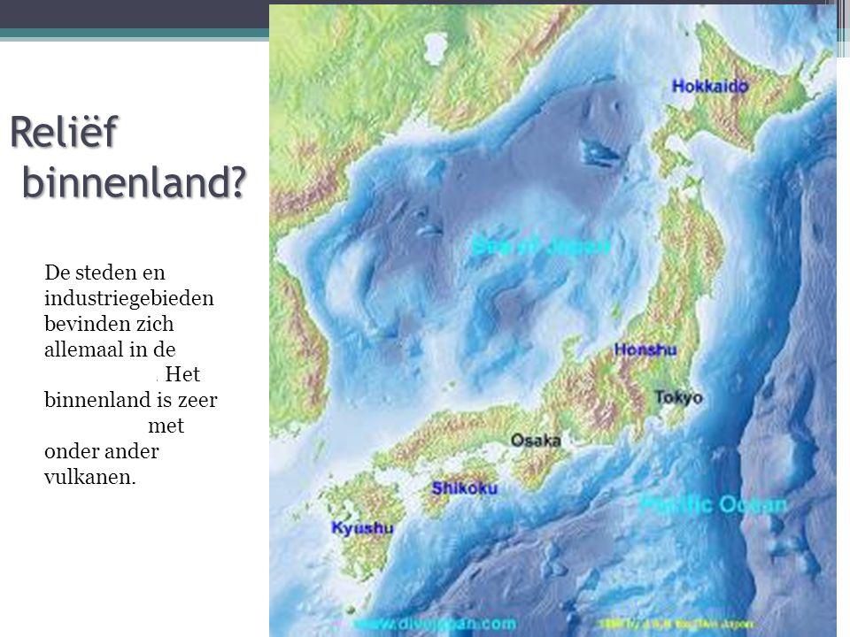 Reliëf binnenland.De steden en industriegebieden bevinden zich allemaal in de kustvlakten.