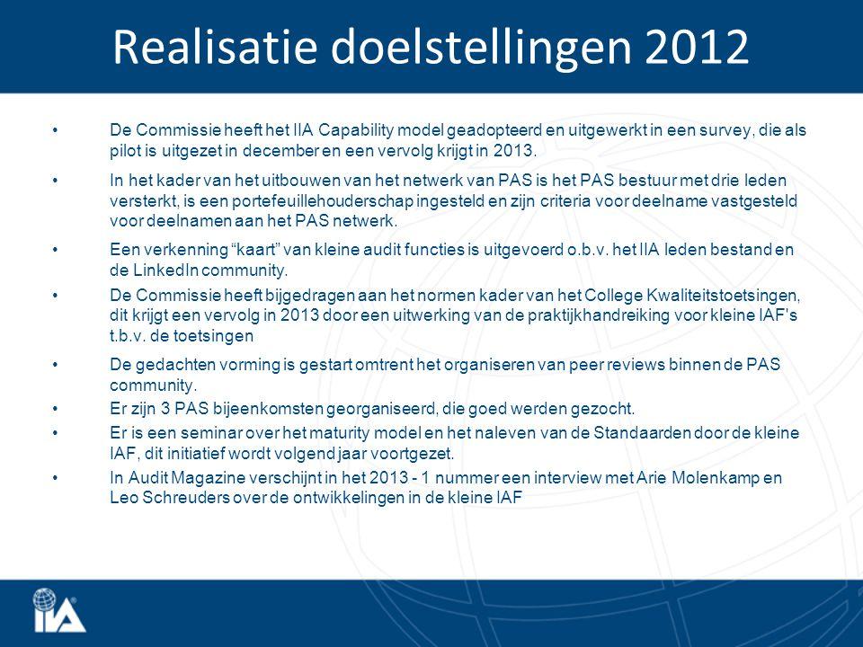 Realisatie doelstellingen 2012 De Commissie heeft het IIA Capability model geadopteerd en uitgewerkt in een survey, die als pilot is uitgezet in december en een vervolg krijgt in 2013.