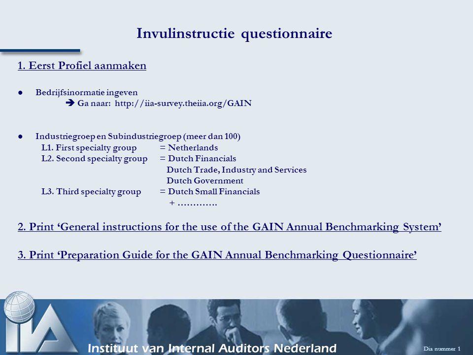 Dia nummer 1 Invulinstructie questionnaire 1. Eerst Profiel aanmaken Bedrijfsinormatie ingeven  Ga naar: http://iia-survey.theiia.org/GAIN Industrieg