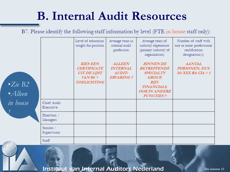 B. Internal Audit Resources Dia nummer 12 B7. Please identify the following staff information by level (FTE in-house staff only): Level of education s