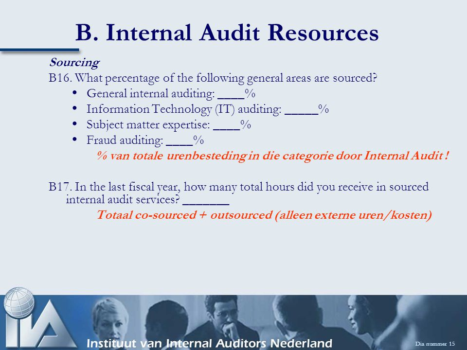 B. Internal Audit Resources Dia nummer 15 Sourcing B16. What percentage of the following general areas are sourced? General internal auditing: ____% I