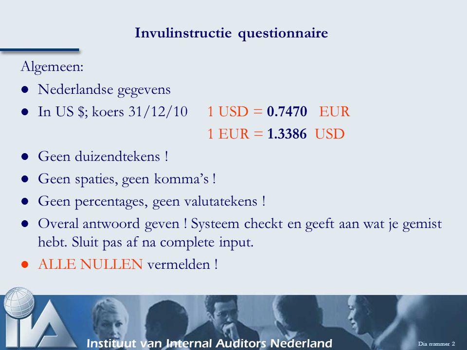 Dia nummer 2 Invulinstructie questionnaire Algemeen: Nederlandse gegevens In US $; koers 31/12/101 USD = 0.7470 EUR 1 EUR = 1.3386 USD Geen duizendtek