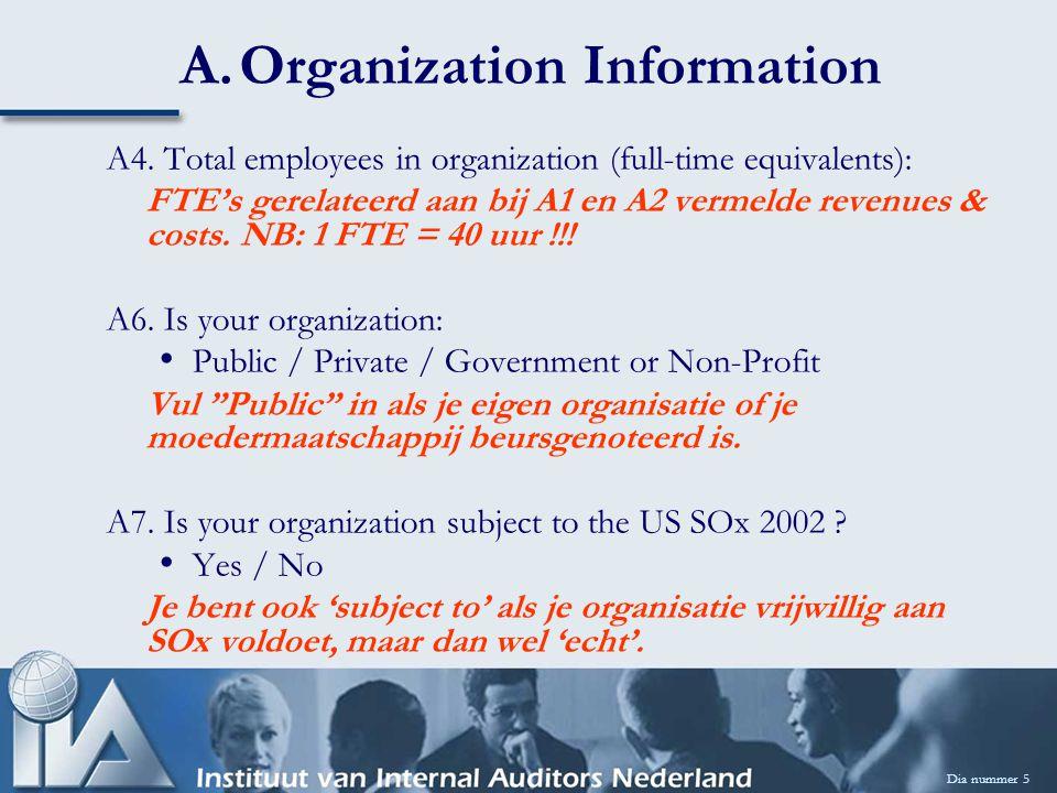 A.Organization Information A4. Total employees in organization (full-time equivalents): FTE's gerelateerd aan bij A1 en A2 vermelde revenues & costs.