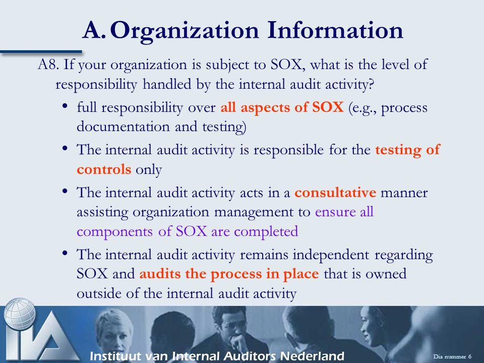 A9.Organizational Reach: Keuze uit: Regional, National, International A10.