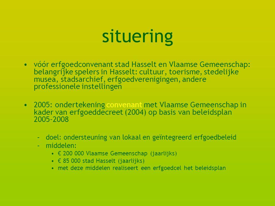 situering vóór erfgoedconvenant stad Hasselt en Vlaamse Gemeenschap: belangrijke spelers in Hasselt: cultuur, toerisme, stedelijke musea, stadsarchief, erfgoedverenigingen, andere professionele instellingen 2005: ondertekening convenant met Vlaamse Gemeenschap in kader van erfgoeddecreet (2004) op basis van beleidsplan 2005-2008 –doel: ondersteuning van lokaal en geïntegreerd erfgoedbeleid –middelen: € 200 000 Vlaamse Gemeenschap (jaarlijks) € 85 000 stad Hasselt (jaarlijks) met deze middelen realiseert een erfgoedcel het beleidsplan
