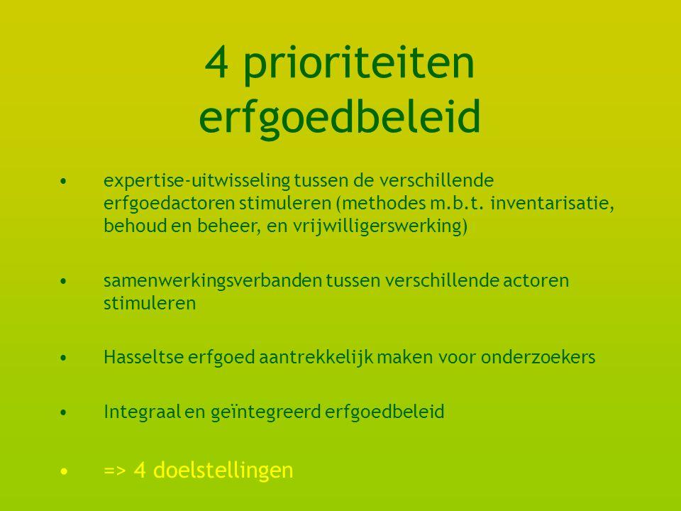 4 prioriteiten erfgoedbeleid expertise-uitwisseling tussen de verschillende erfgoedactoren stimuleren (methodes m.b.t.