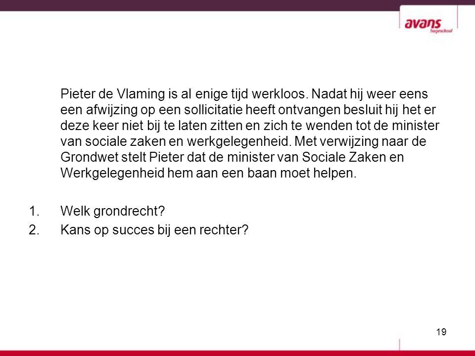 19 Pieter de Vlaming is al enige tijd werkloos. Nadat hij weer eens een afwijzing op een sollicitatie heeft ontvangen besluit hij het er deze keer nie