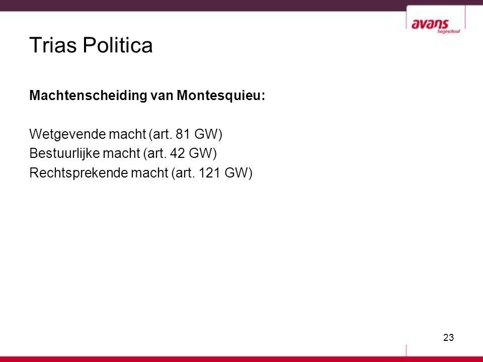 23 Trias Politica Machtenscheiding van Montesquieu: Wetgevende macht (art. 81 GW) Bestuurlijke macht (art. 42 GW) Rechtsprekende macht (art. 121 GW)