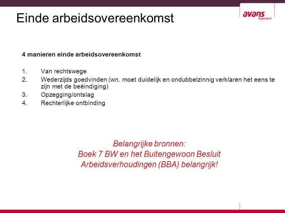Einde arbeidsovereenkomst 4 manieren einde arbeidsovereenkomst 1.Van rechtswege 2.Wederzijds goedvinden (wn. moet duidelijk en ondubbelzinnig verklare