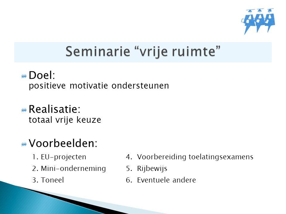 Doel: positieve motivatie ondersteunen Realisatie: totaal vrije keuze Voorbeelden: 1. EU-projecten4. Voorbereiding toelatingsexamens 2. Mini-ondernemi
