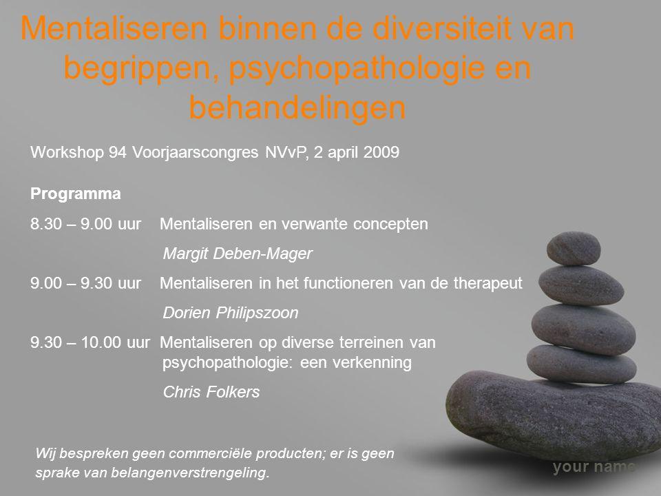 your name Mentaliseren binnen de diversiteit van begrippen, psychopathologie en behandelingen Workshop 94 Voorjaarscongres NVvP, 2 april 2009 Programm