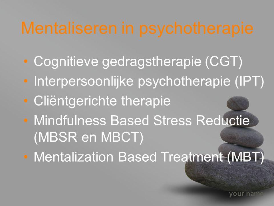 your name Mentaliseren in psychotherapie Cognitieve gedragstherapie (CGT) Interpersoonlijke psychotherapie (IPT) Cliëntgerichte therapie Mindfulness B