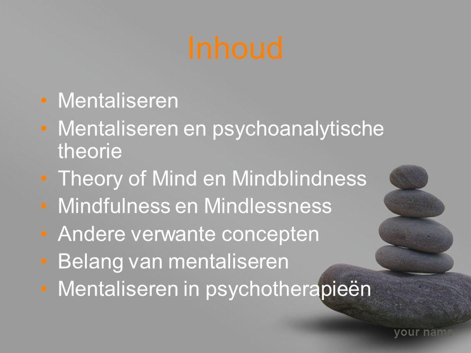 your name Inhoud Mentaliseren Mentaliseren en psychoanalytische theorie Theory of Mind en Mindblindness Mindfulness en Mindlessness Andere verwante co