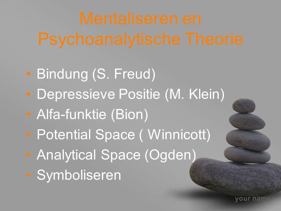 your name Mentaliseren en Psychoanalytische Theorie Bindung (S. Freud) Depressieve Positie (M. Klein) Alfa-funktie (Bion) Potential Space ( Winnicott)