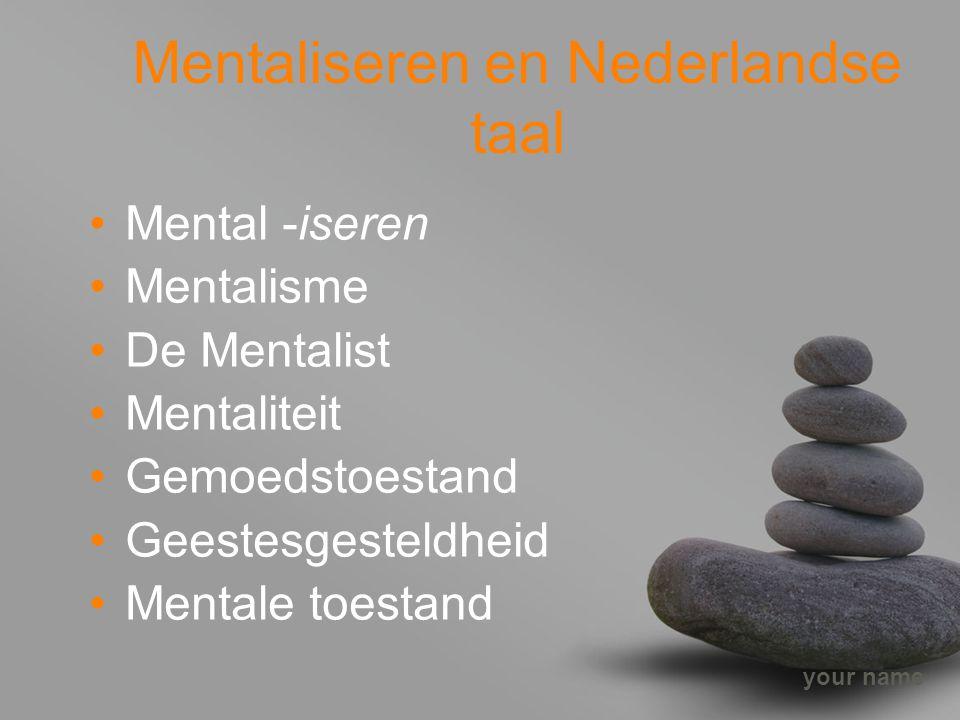 your name Mentaliseren en Nederlandse taal Mental -iseren Mentalisme De Mentalist Mentaliteit Gemoedstoestand Geestesgesteldheid Mentale toestand