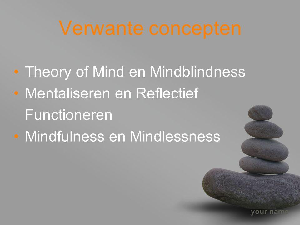 your name Verwante concepten Theory of Mind en Mindblindness Mentaliseren en Reflectief Functioneren Mindfulness en Mindlessness