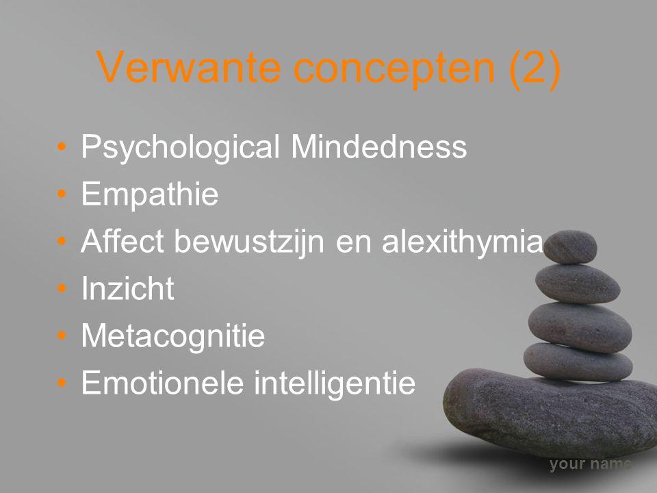 your name Verwante concepten (2) Psychological Mindedness Empathie Affect bewustzijn en alexithymia Inzicht Metacognitie Emotionele intelligentie