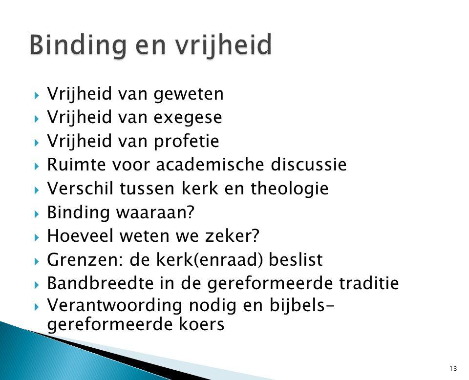  Vrijheid van geweten  Vrijheid van exegese  Vrijheid van profetie  Ruimte voor academische discussie  Verschil tussen kerk en theologie  Binding waaraan.