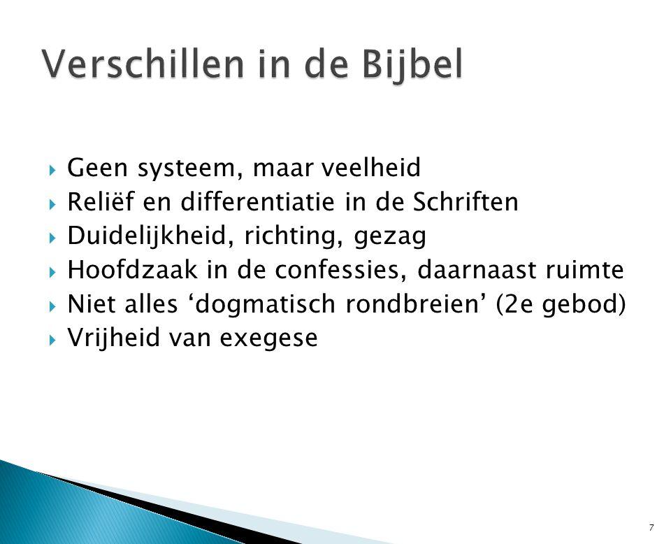  Geen systeem, maar veelheid  Reliëf en differentiatie in de Schriften  Duidelijkheid, richting, gezag  Hoofdzaak in de confessies, daarnaast ruim