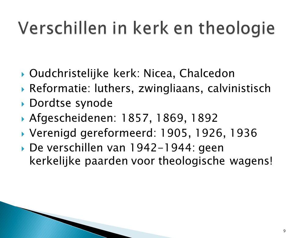  Oudchristelijke kerk: Nicea, Chalcedon  Reformatie: luthers, zwingliaans, calvinistisch  Dordtse synode  Afgescheidenen: 1857, 1869, 1892  Veren