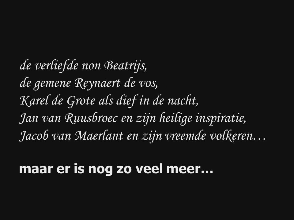 de verliefde non Beatrijs, de gemene Reynaert de vos, Karel de Grote als dief in de nacht, Jan van Ruusbroec en zijn heilige inspiratie, Jacob van Maerlant en zijn vreemde volkeren… maar er is nog zo veel meer…