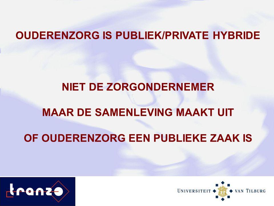 OUDERENZORG IS PUBLIEK/PRIVATE HYBRIDE NIET DE ZORGONDERNEMER MAAR DE SAMENLEVING MAAKT UIT OF OUDERENZORG EEN PUBLIEKE ZAAK IS