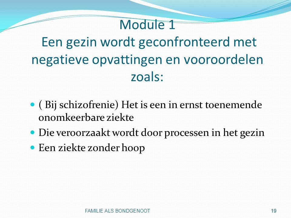19 Module 1 Een gezin wordt geconfronteerd met negatieve opvattingen en vooroordelen zoals: ( Bij schizofrenie) Het is een in ernst toenemende onomkee