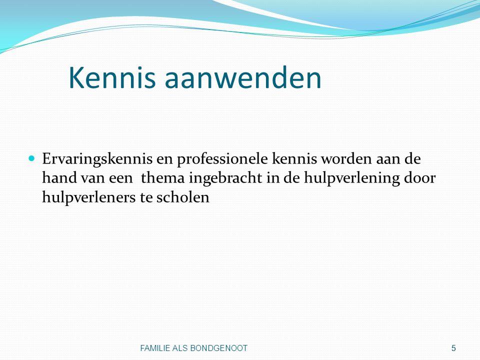 6 Deelnemers in de pilot Familieverenigingen uit Helmond, Eindhoven en Tilburg (Ypsilon, In Perspectief, Labyrint) GGZ Oost Brabant RIBW Midden Brabant GGZ Midden Brabant GGz Eindhoven en de Kempen Fontys Hogeschool Provinciale Raad Volksgezondheid FAMILIE ALS BONDGENOOT6