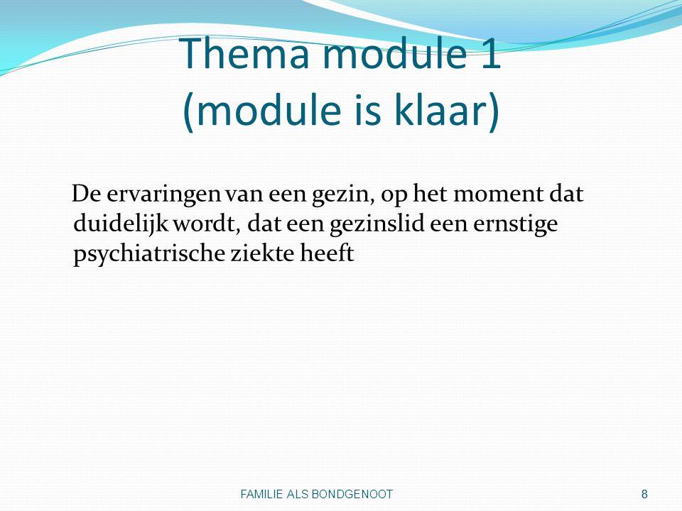 9 Thema module 2 (module is klaar) Veranderende taken, rollen, en verhoudingen binnen gezinnen ten gevolge van psychiatrische problemen bij een gezinslid FAMILIE ALS BONDGENOOT 9