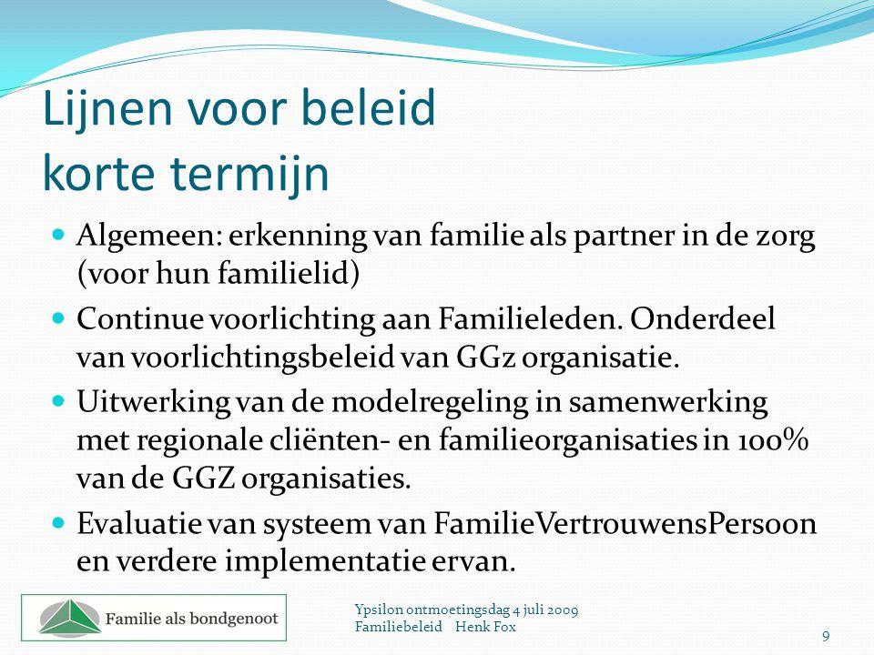 Lijnen voor beleid korte termijn Algemeen: erkenning van familie als partner in de zorg (voor hun familielid) Continue voorlichting aan Familieleden.
