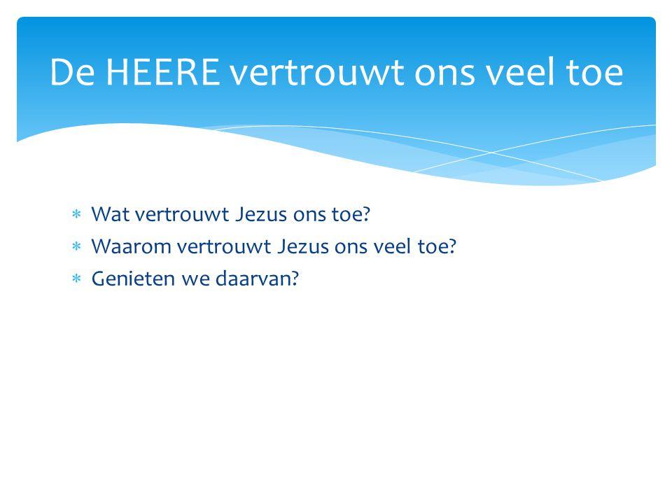  Wat vertrouwt Jezus ons toe?  Waarom vertrouwt Jezus ons veel toe?  Genieten we daarvan? De HEERE vertrouwt ons veel toe