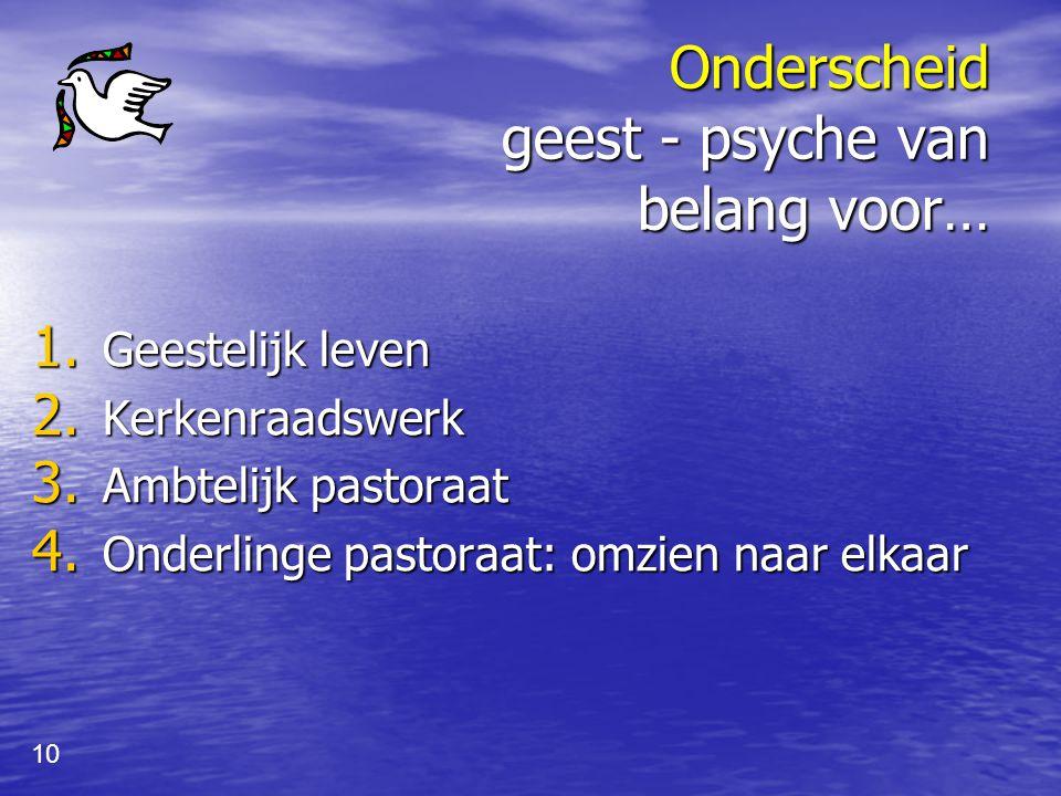 9 Geestelijke strijd gaat over plek die psyche inneemt ik psyche (vlees) geest lichaam Autonomie