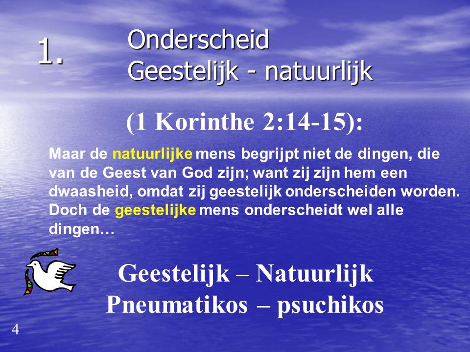 2. Bouwstenen: 3 God leidt Zijn gemeente door te spreken. 1. 2. 1. 2. geestelijke – natuurlijke mens geest – ziel (psyche) – lichaam Onderscheid