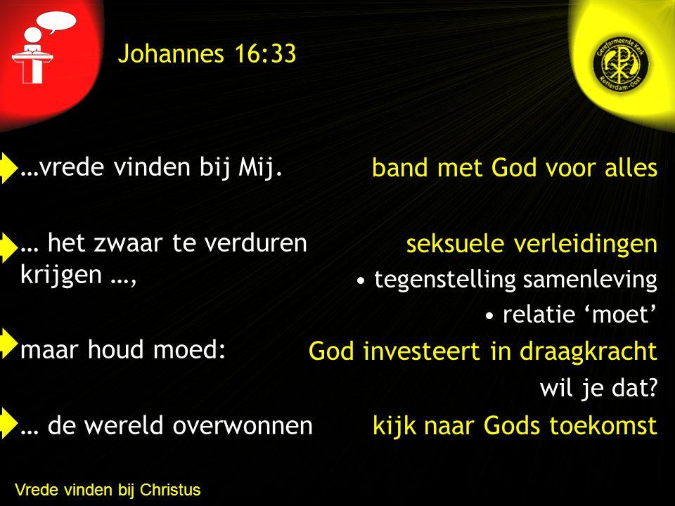 Draaglast / draagkracht Johannes 16:33 1 Korinte 7 2 opmerkingen Niet in beslag laten nemen De bestemming is belangrijker dan de reis 1 e vraag: geef ik me over aan God.