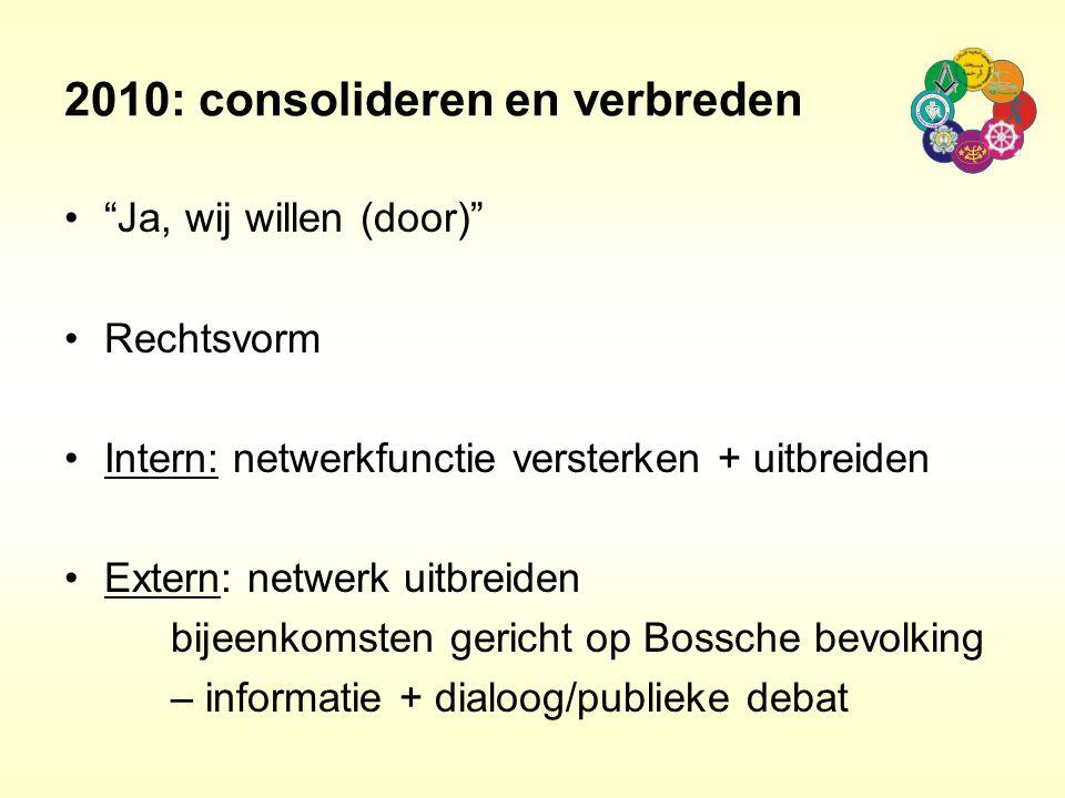"""2010: consolideren en verbreden """"Ja, wij willen (door)"""" Rechtsvorm Intern: netwerkfunctie versterken + uitbreiden Extern: netwerk uitbreiden bijeenkom"""