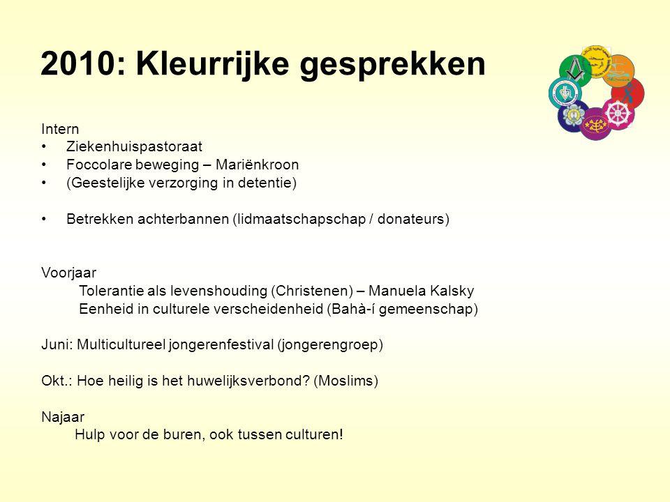 2010: Kleurrijke gesprekken Intern Ziekenhuispastoraat Foccolare beweging – Mariënkroon (Geestelijke verzorging in detentie) Betrekken achterbannen (l