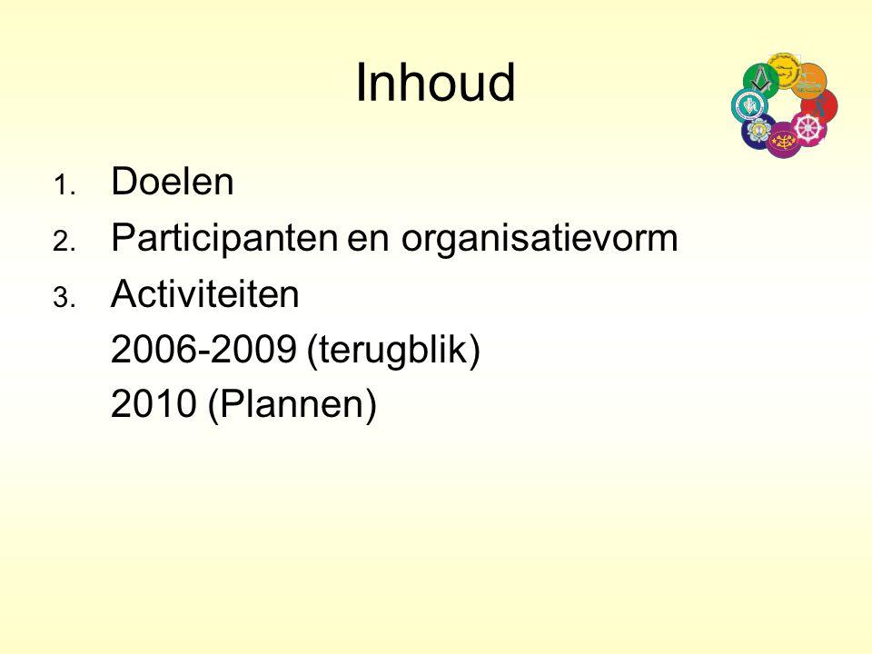 Inhoud 1. Doelen 2. Participanten en organisatievorm 3. Activiteiten 2006-2009 (terugblik) 2010 (Plannen)