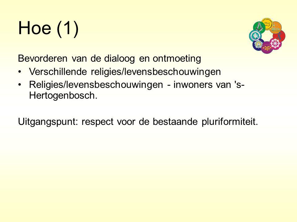 Hoe (1) Bevorderen van de dialoog en ontmoeting Verschillende religies/levensbeschouwingen Religies/levensbeschouwingen - inwoners van 's- Hertogenbos