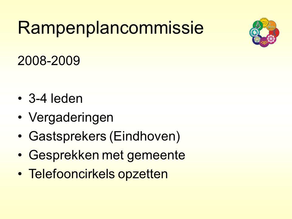 Rampenplancommissie 2008-2009 3-4 leden Vergaderingen Gastsprekers (Eindhoven) Gesprekken met gemeente Telefooncirkels opzetten