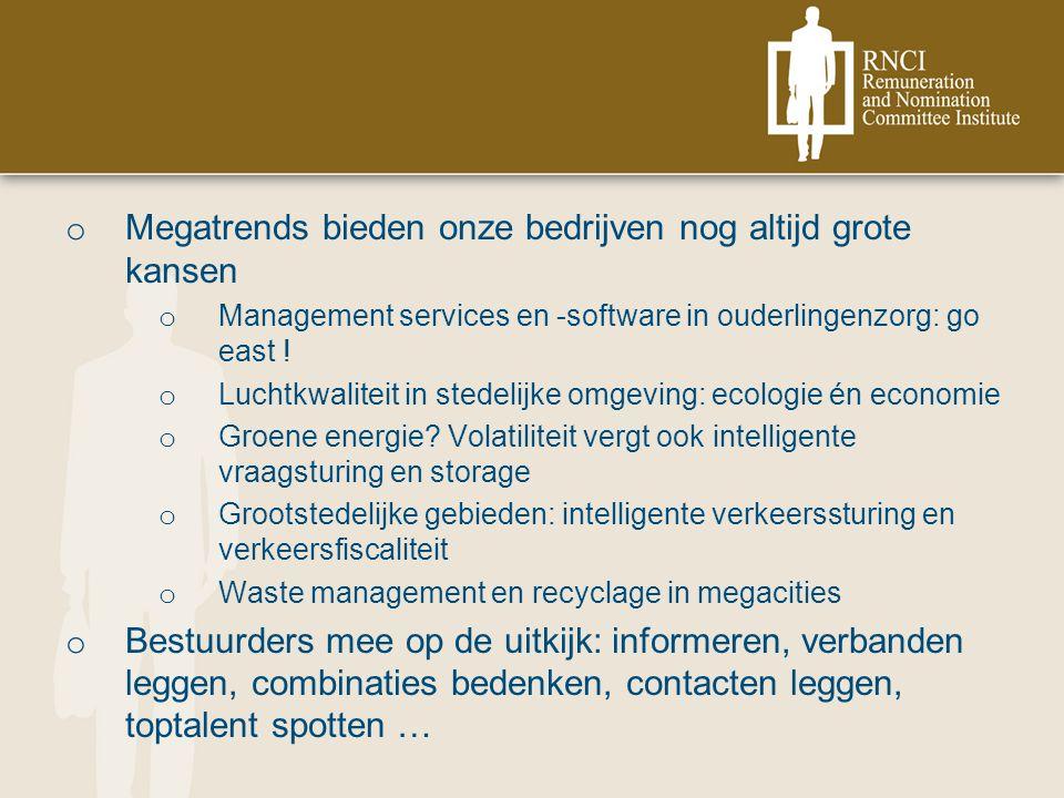 o Megatrends bieden onze bedrijven nog altijd grote kansen o Management services en -software in ouderlingenzorg: go east .