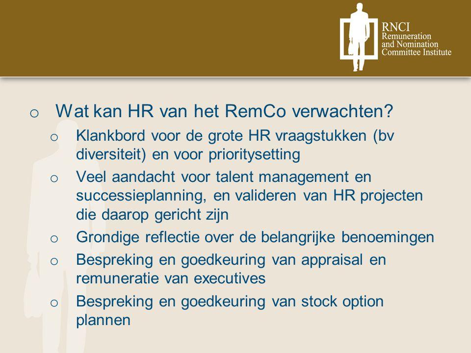 o Wat kan HR van het RemCo verwachten.