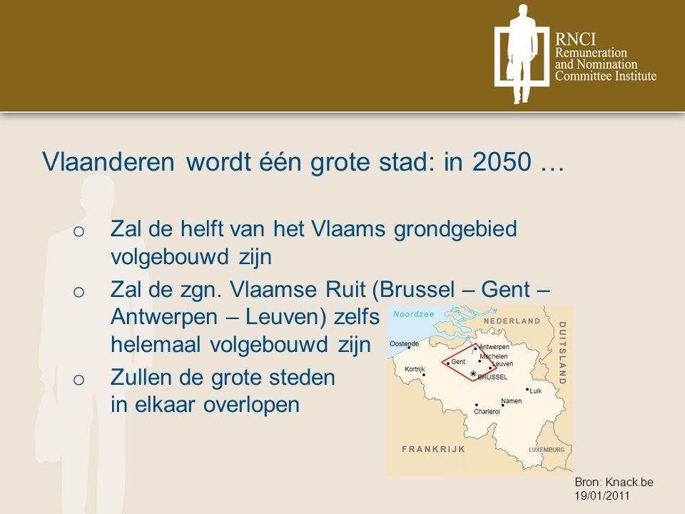 Vlaanderen wordt één grote stad: in 2050 … o Zal de helft van het Vlaams grondgebied volgebouwd zijn o Zal de zgn.