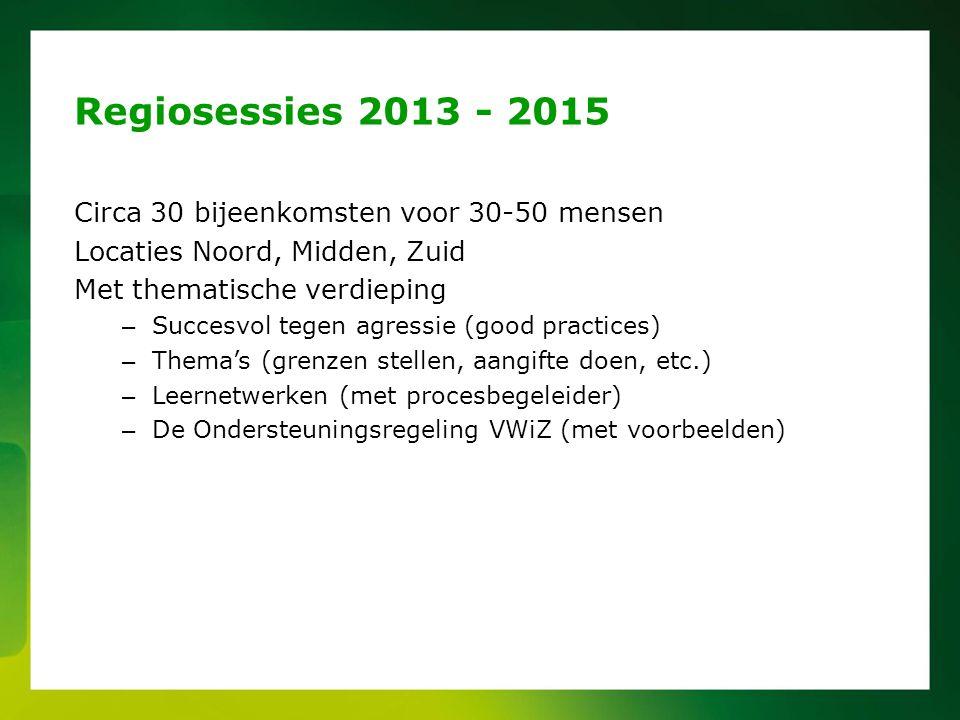 Circa 30 bijeenkomsten voor 30-50 mensen Locaties Noord, Midden, Zuid Met thematische verdieping – Succesvol tegen agressie (good practices) – Thema's