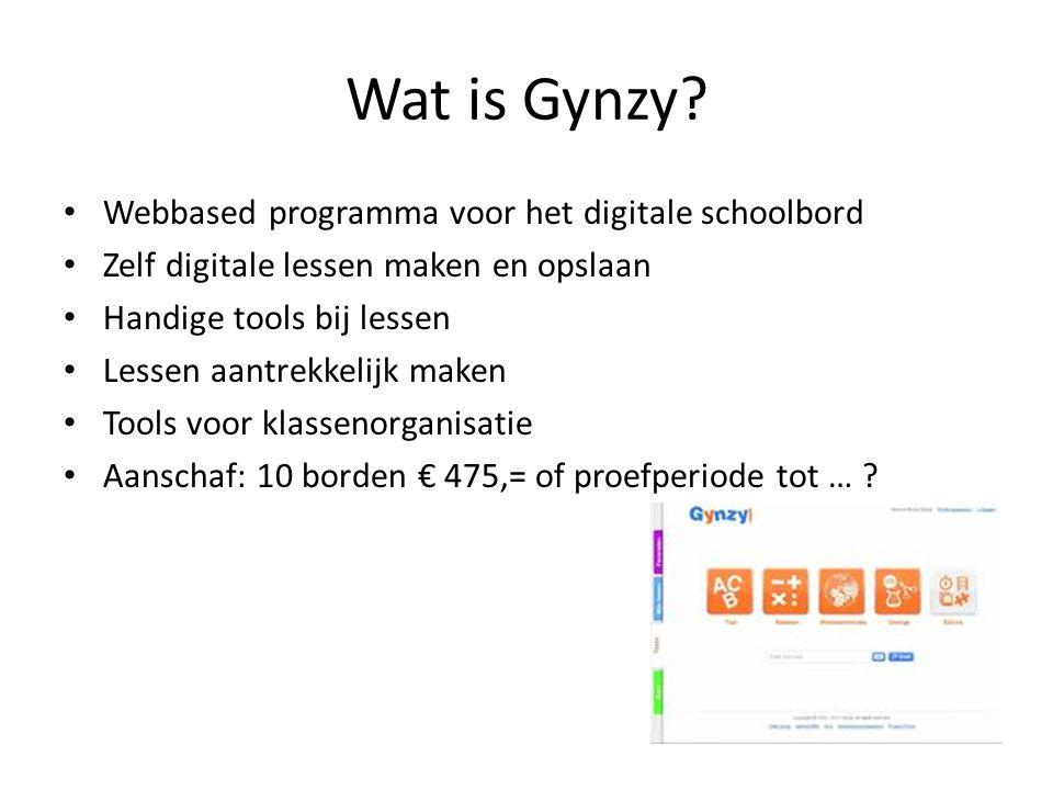 Wat is Gynzy? Webbased programma voor het digitale schoolbord Zelf digitale lessen maken en opslaan Handige tools bij lessen Lessen aantrekkelijk make