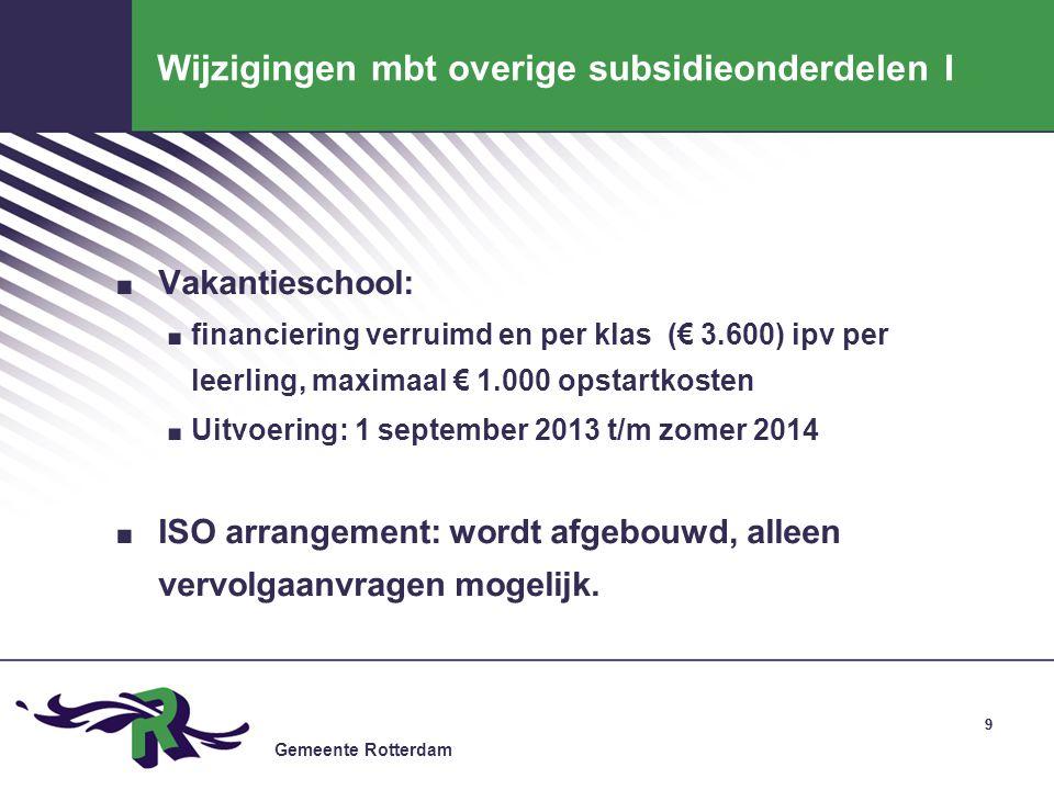 Gemeente Rotterdam 9 Wijzigingen mbt overige subsidieonderdelen I. Vakantieschool:. financiering verruimd en per klas (€ 3.600) ipv per leerling, maxi
