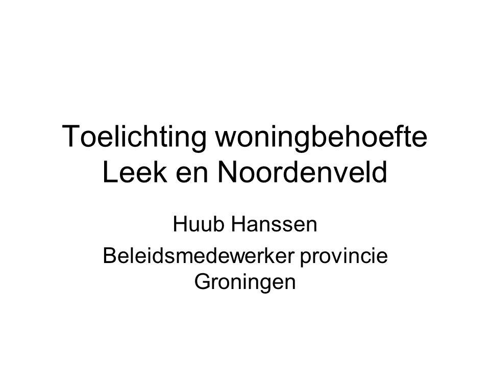 Toelichting woningbehoefte Leek en Noordenveld Huub Hanssen Beleidsmedewerker provincie Groningen
