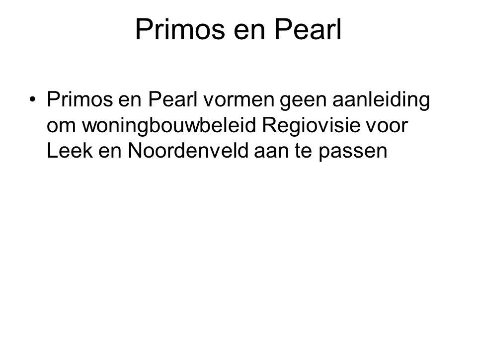 Primos en Pearl Primos en Pearl vormen geen aanleiding om woningbouwbeleid Regiovisie voor Leek en Noordenveld aan te passen